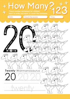 Traceer nummer 20 werkblad voor kleuters en kleuters