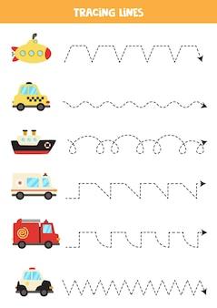 Traceerlijnen met schattig transport. schrijf oefening.