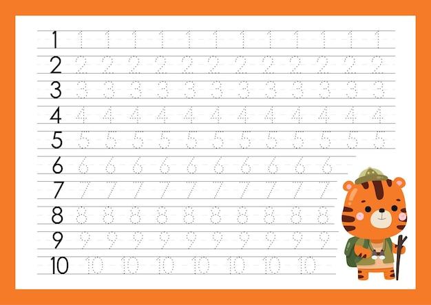 Traceernummers schrijven oefenen werkbladen voor kleuterschool