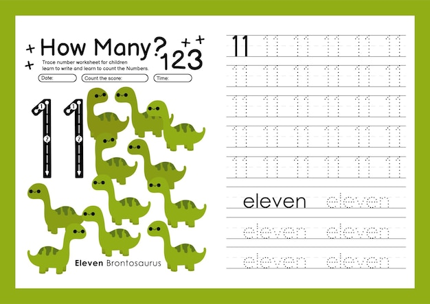Traceernummers schrijven werkbladen oefenen en nummers leren voor kleuterschool nummer elf 11