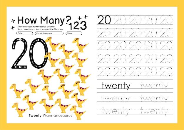 Traceernummers schrijven werkbladen oefenen en nummers leren voor kleuterschool nummer twintig 20
