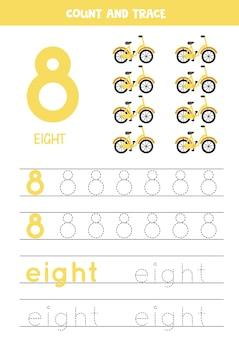 Traceren nummer 8 en het woord acht. handschriftoefening voor kinderen met fietsen.