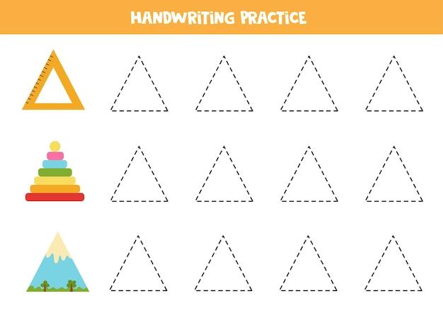 Traceren van contouren van driehoekige objecten. handschriftoefeningen voor kinderen.