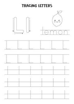 Tracering van letters van het engelse alfabet. zwart-wit werkblad.