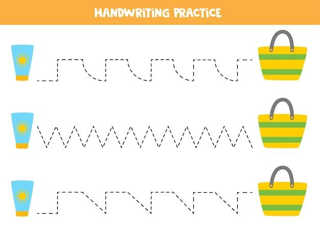 Traceringslijnen met cartoon zonnebrandcrème en tas. schrijf oefening.