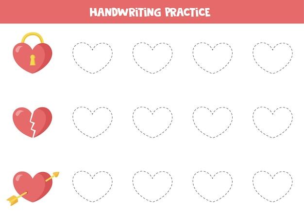 Traceringslijnen met valentijnsharten. trek de lijnen over met verschillende harten.