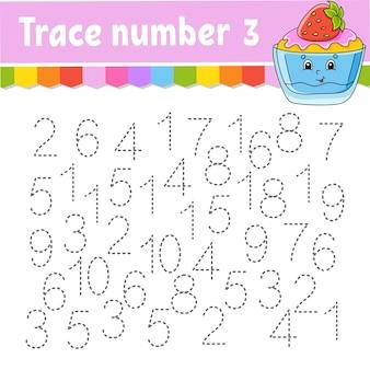 Traceringsnummer. handschrift oefenen. getallen leren voor kinderen. onderwijs ontwikkelen werkblad. activiteitspagina.
