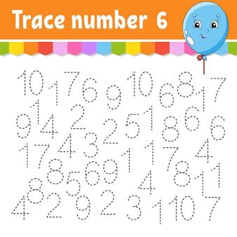 Traceringsnummer. handschrift oefenen. getallen leren voor kinderen. onderwijs ontwikkelen werkblad.
