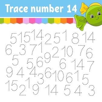 Traceringsnummer. handschrift oefenen. getallen leren voor kinderen.