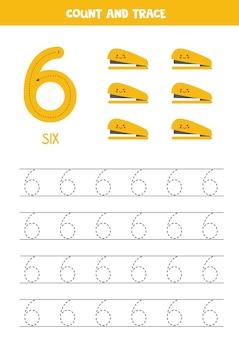 Traceringsnummers werkblad met schattige gele nietmachines.
