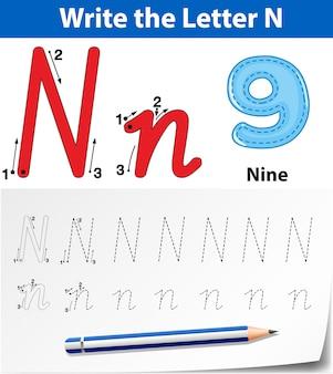 Tracing alfabet sjabloon voor letter n