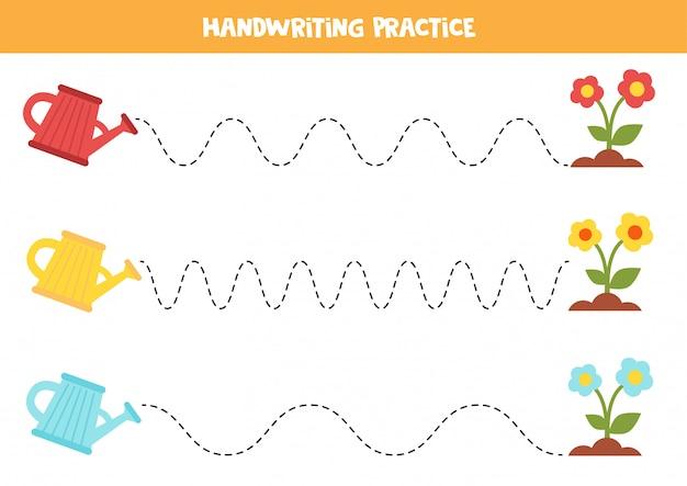 Tracing lijnen met gieter en bloemen. handschrift praktijk.