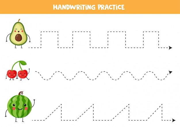 Tracing lijnen met schattige kawaii avocado, kersen, watermeloen.