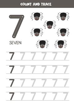 Tracing nummers werkblad met schattige insecten. spoornummer 7.