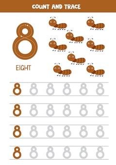 Tracing nummers werkblad met schattige mieren. spoornummer 8.