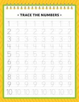 Tracing nummers werkblad voor kinderen