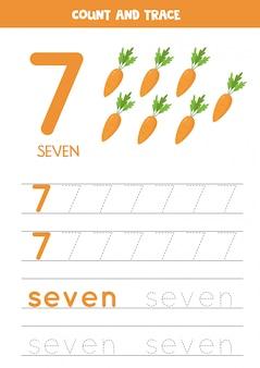 Tracing van het woord zeven en het cijfer 7. illustraties van cartoon wortelen.
