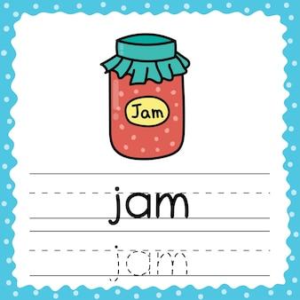Tracing words flashcard - jam. schrijfoefening voor kinderen. flash-kaart met een eenvoudig woord van drie letters. activiteitenpagina voor peuters. illustratie