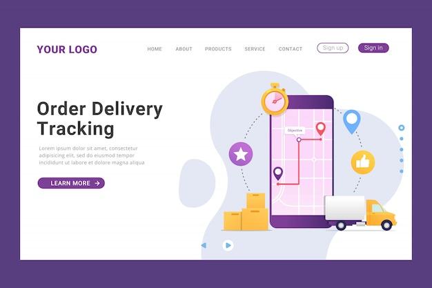 Tracking bestemmingspagina sjabloon voor levering van bestellingen