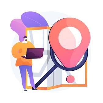 Tracking van levering via internet. gps-navigator service website plat ontwerpelement. wijzer, vergrootglas, kaart. routeplanning online, pad zoeken.