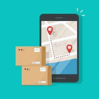 Tracking van pakketbezorging op bestemmingen op de stadsplattegrond van mobiele telefoons en mobiele telefoons