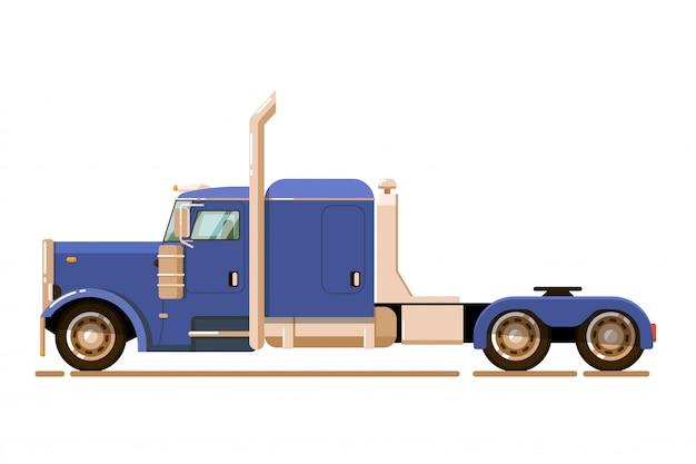 Tractief voertuig. zware vrachtwagenaanhangwagen geïsoleerd. tractive voertuig vrachtwagen vectorillustratie