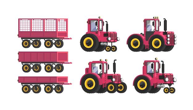 Tractor. aanhangwagen. een set landbouwmachines. illustratie in vlakke stijl.