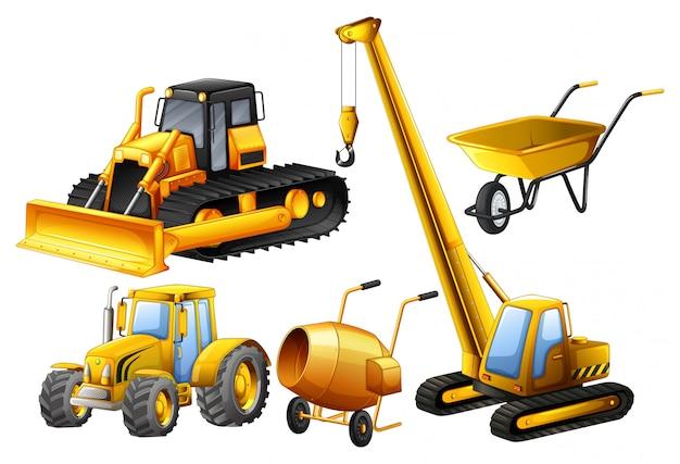 Tractor en andere voertuigen die in bouwwerf worden gebruikt