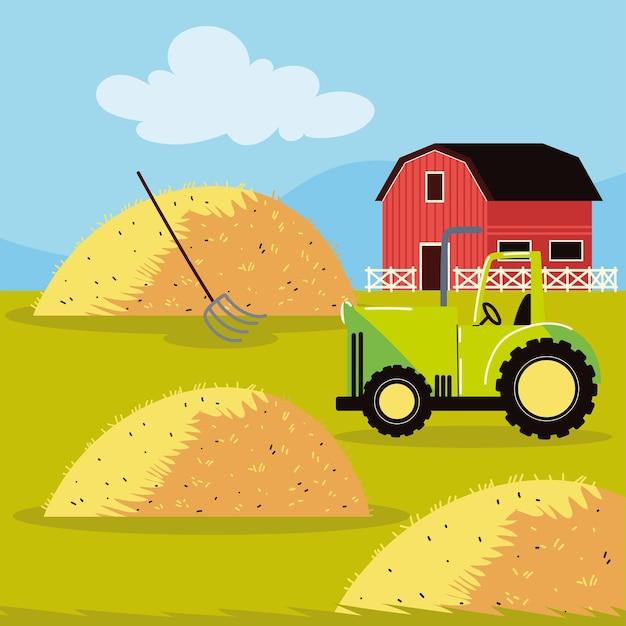 Tractor en schuur