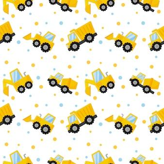 Tractor, graafmachine, bulldozer en vrachtwagens naadloos patroon