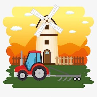 Tractor in de boerderij scene