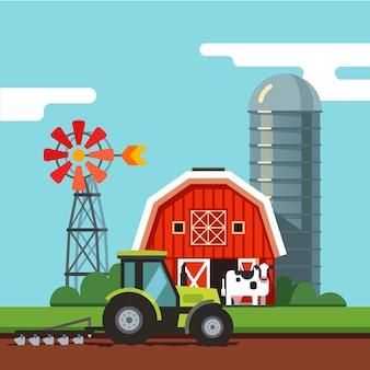 Tractor werkt op een akker veld