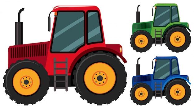 Tractoren in drie verschillende kleuren