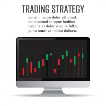 Trading strategie. beleggingsstrategieën en online handel lijntekeningen concept
