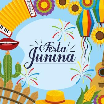 Traditiedecoratie aan festa junina-viering