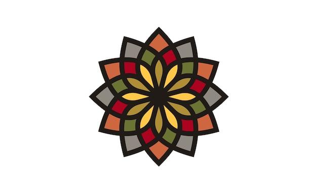 Traditioneel aziatisch kleurrijk bloemenpatroon logo ontwerp