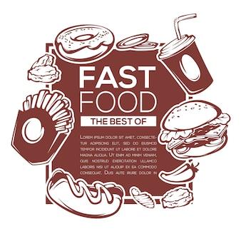 Traditioneel beste van amerikaans fastfood ingrediëntenmalplaatje