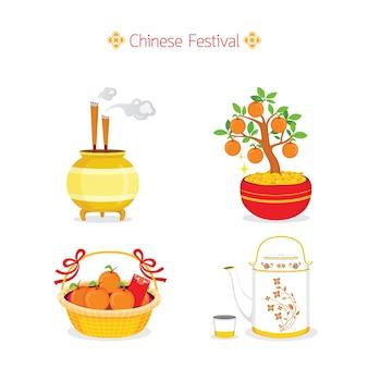 Traditioneel chinees festival, chinees nieuwjaar objecten, geschenken