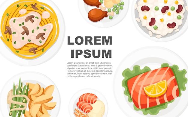 Traditioneel eten uit de hele wereld concept voor menu-logo's en etiketten vlakke afbeelding