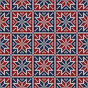 Traditioneel fair isle-stijl naadloos gebreid patroon. kerst en nieuwjaar breien trui design
