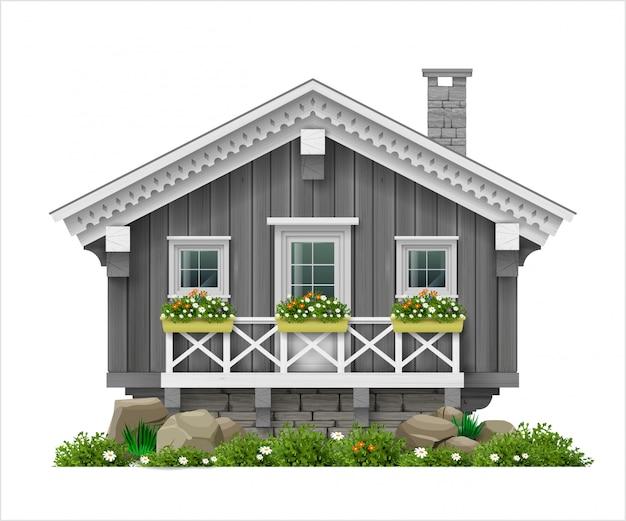 Traditioneel fins, scandinavisch houten huis.