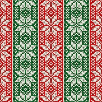 Traditioneel gebreide kerstvakantiepatroon met sneeuwvlokken