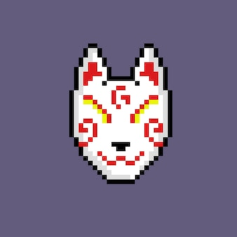 Traditioneel japans masker met pixelkunststijl