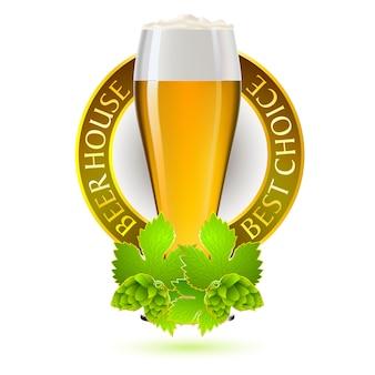 Traditioneel kleurrijk het embleemidee van het bierfestival.