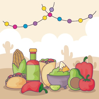 Traditioneel mexicaans eten en groenten