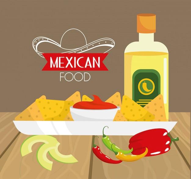 Traditioneel mexicaans eten met avocado en tequila