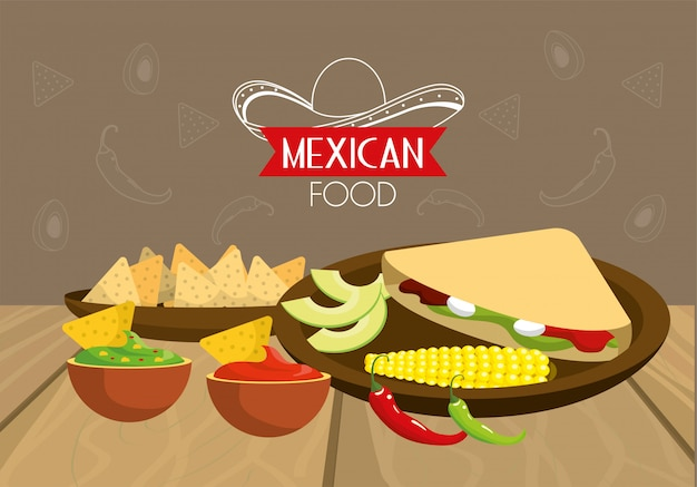 Traditioneel mexicaans eten met pittige sauzen