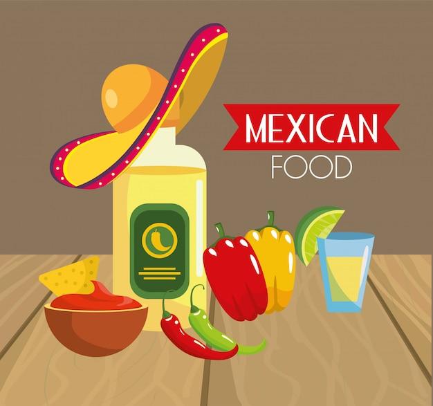 Traditioneel mexicaans voedsel met de peper van chili