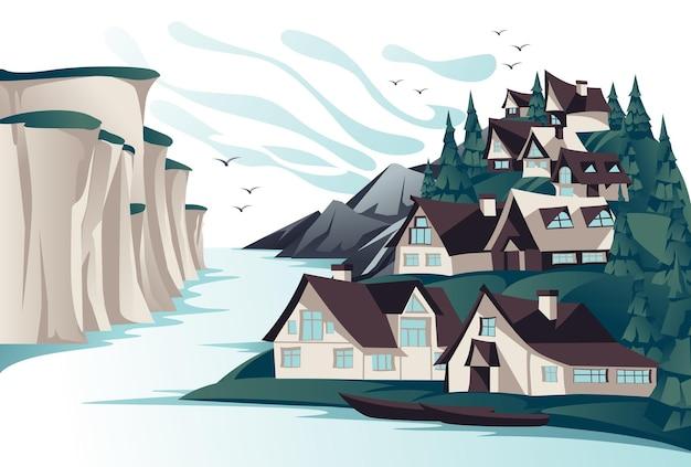 Traditioneel noordelijk dorp aan de rotskust zomer open ruimte landschap. tekenfilm.