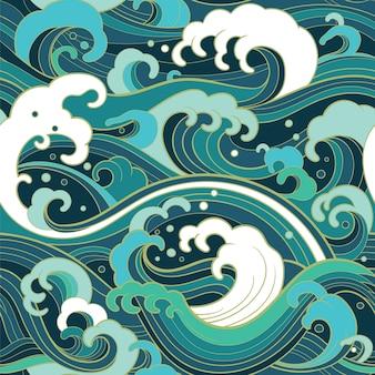 Traditioneel oosters naadloos patroon met oceaangolven